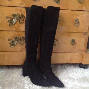 Lange Stiefel aus Nubuk Leder, schwarz, 39