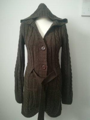 Long Knitted Vest khaki mixture fibre