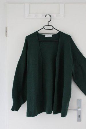 Lange Strickjacke in dunkelgrün - ungetragen