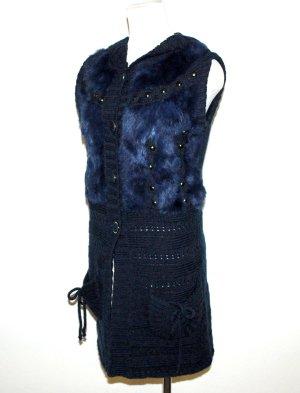Lange Strickjacke mit Kapuze dunkelblau von Marina Gr.38