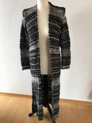 Bershka Knitted Coat black-white