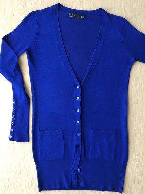 Zara Veste en tricot bleu tissu mixte