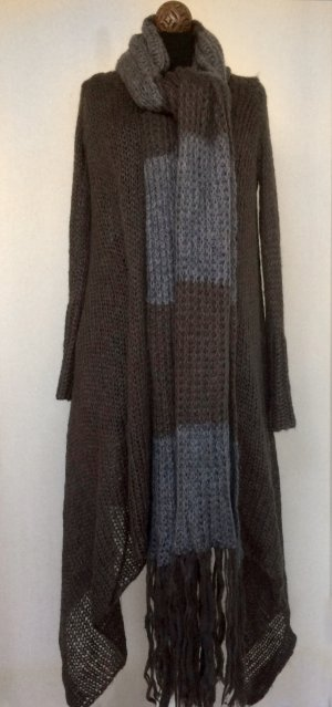 Long Knitted Vest taupe-dark grey