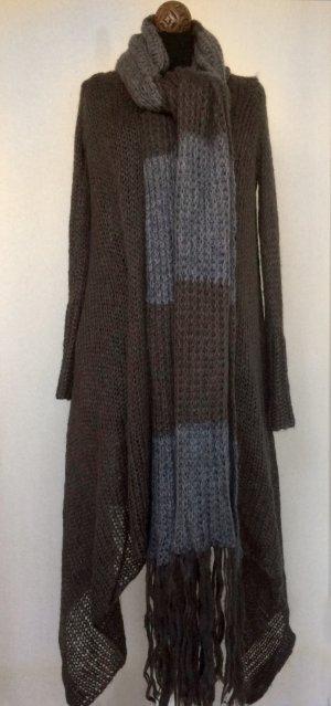 Gilet long tricoté taupe-gris foncé
