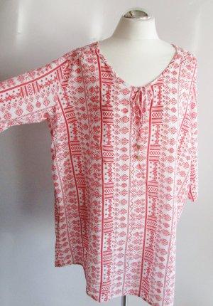 Lange Tunika Bluse Esmara Größe XXL 52 54 Weiß Rot Musselin Strandkleid Grafisch Muster Print
