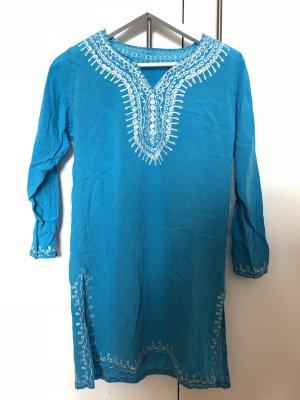 Camicetta lunga blu neon-blu fiordaliso