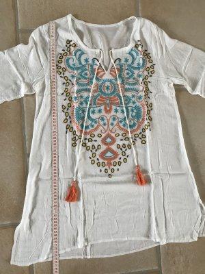 lange Tunika Shirt Longshirt weiß Baumwolle tolles Muster zum Binden Sommer Strand 36 38  S M