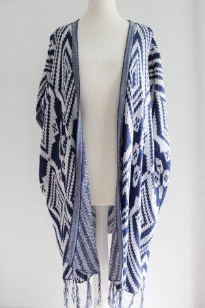 Lange Tunika-Weste, gestrickt, blau/weiß