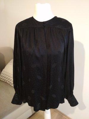 """""""Lange"""" Vintage Bluse schwarz 100% Seide"""