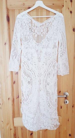 Lange weiße Tunika Spitzenkleid Lochstickerei Trend Blogger Musthave