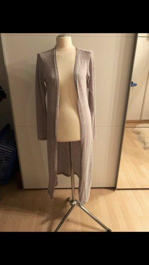 Cardigan lungo smanicato grigio chiaro