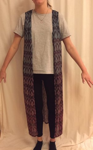 Amisu Long Knitted Vest grey lilac