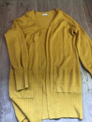 Jaqueline de Yong Gilet long tricoté orange doré