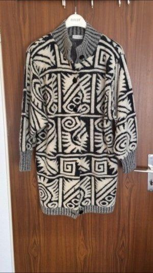 Lange Wolljacke schwarz/weiß