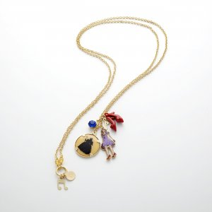 Collier incrusté de pierres doré-rouge