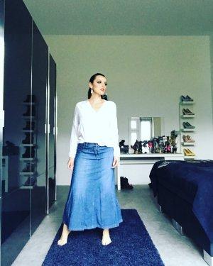langer a-linie ausgestellter jeansrock in mittelblau