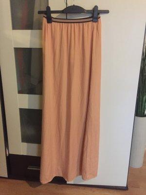 langer apricot farbener Maxi Rock von Zara