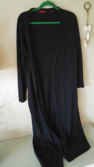 langer cardigan in dunkelblau offen aus baumwolle