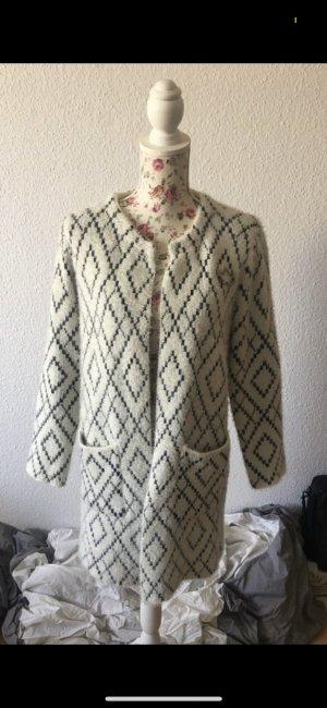 Manteau en tricot blanc cassé-noir