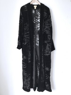 Langer Dress-Mantel Kimono Samt Ornamente Transparent Chic Boho