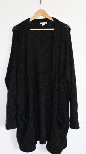 langer dunkelgrauer Cardigan mit Taschen