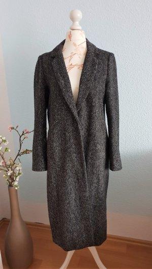 Zara Wollen jas zwart-donkergrijs Wol