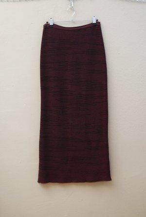 Marc Cain Jupe tricotée brun pourpre-noir coton