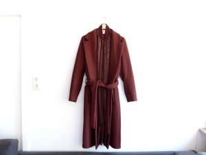 langer H&M Studio Mantel in Gr.40 Season Winter 15/16 Bindemantel bordeaux Wolle