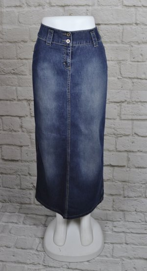 Langer Jeans Maxirock s.Oliver Größe S 36 Denim Maxi Rock Grau Blau Washed Used Schlitz