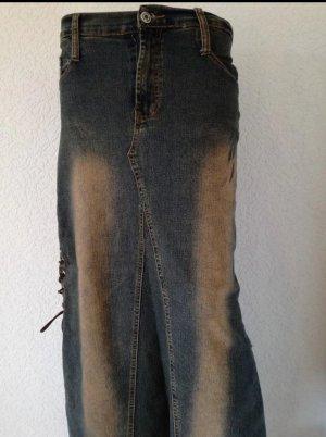 Langer Jeansrock mit Reißverschluss Maxi Rock Maxirock Jeans Schnürung