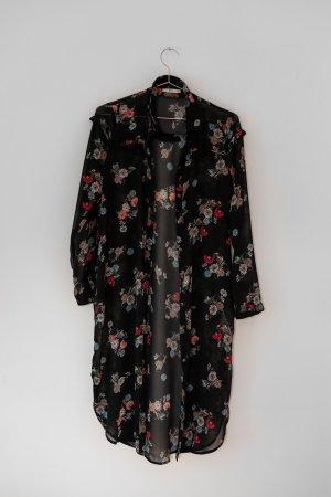 Langer Kimono Blumenmuster Transparent