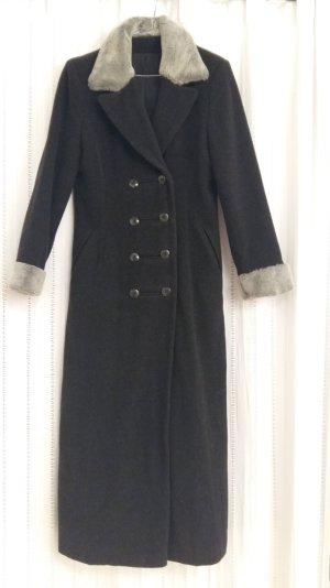 Langer Mantel, 80% Wolle, Fake-Fur