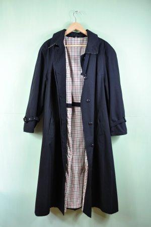 Langer Mantel / Trenchcoat in schwarz Vintage mit karierter Innenseite