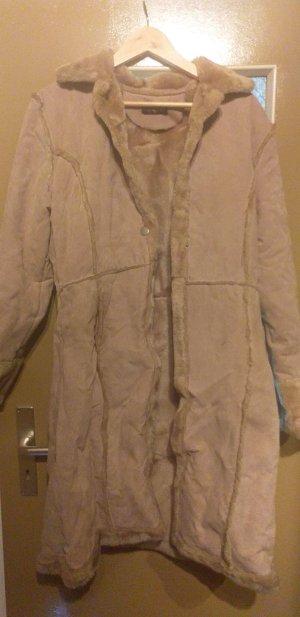 Abrigo de piel sintética marrón arena piel artificial