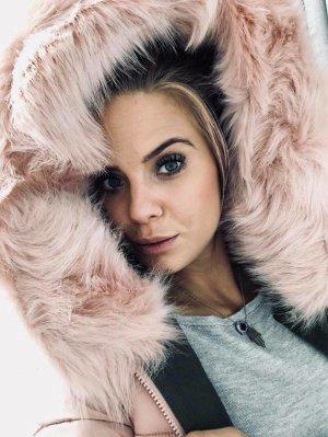 Langer Mantel WENDE MANTEL Khaki und dann wenden ist sie ROSA Stepp Daunen Jacke Wintermantel Winterjacke Puderfarbe XL Kumstfellkragen Kapuze Grösse S
