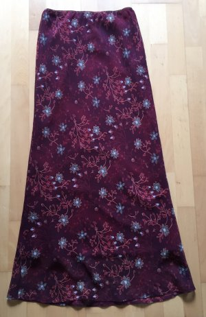 Langer Maxi Rock von Sisley Benetton florales Muster Xmas-Farbe Low High Waist 34/36