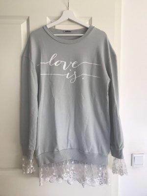 Jersey largo gris claro-blanco