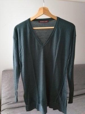 Langer Pullover aus Wolle und Seide, petrol