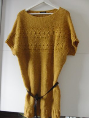 Langer Pullover/ Strickkleid senfgelb