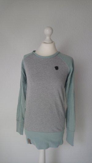 Langer Pullover von Naketano in Türkis und grau