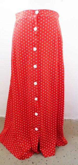 langer Rock Zauberkleid rot gepunktet Polka Dots Rockabilly 50er Jahre 36 38