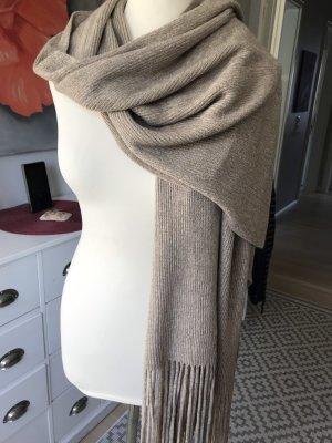 Vero Moda Bufanda de punto marrón grisáceo-color oro