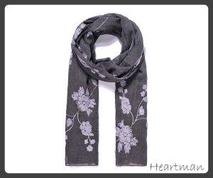 Langer Schal mit Blumen bestickt