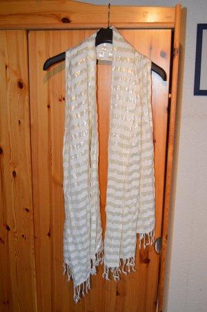 langer Schal/Tuch weiß-silber gestreift