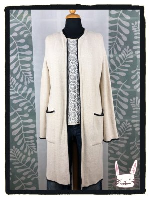 Zara Knit Knitted Coat natural white-black mixture fibre