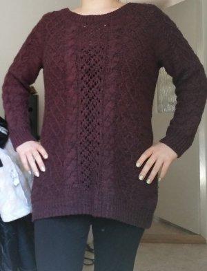 H&M Oversized Sweater carmine-purple polyacrylic
