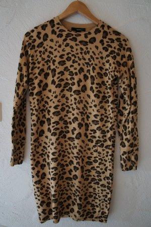 Langer Strickpullover Strickkleid Leopardenmuster Animalprint Mango Suit Größe S