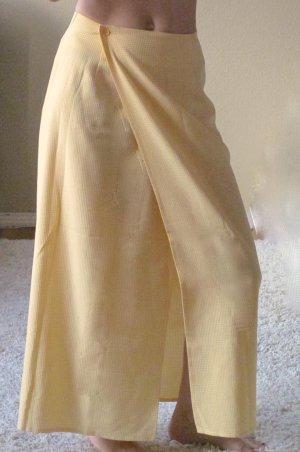 Jupe portefeuille jaune-blanc