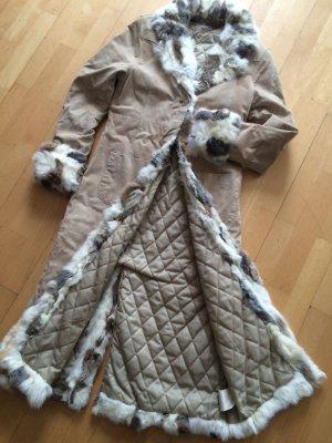 Langer Wildleder Kaninchenfell Mantel Gr.S oder  32 34