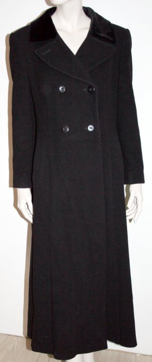 langer woll mantel mit samtkragen in schwarz. Black Bedroom Furniture Sets. Home Design Ideas